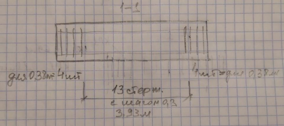 Здравствуйте, участники группы. Очень нужна помощь, чтобы разобраться в вопросе поперечной арматуры. Вот есть плита. По расчёту принимаю на приопорных участках по 4 стержня, а в остальном пролёте с шагом 0,3 (тоже по расчёту). И в моём понимании армирование плиты поперечной арматурой получается вот так - сечение 1-1 = 21 стержень. и сечение 2-2 = 19 стержней. И в тоже время по расчёту на ширину полосой 1 метр приходится 3 поперечных стержня - и это тоже по расчёту. И я запуталась. Потому что армирование тремя стержнями на метр ширины - не возможно сделать одновременно с армированием по сечениям 1-1 и 2-2.